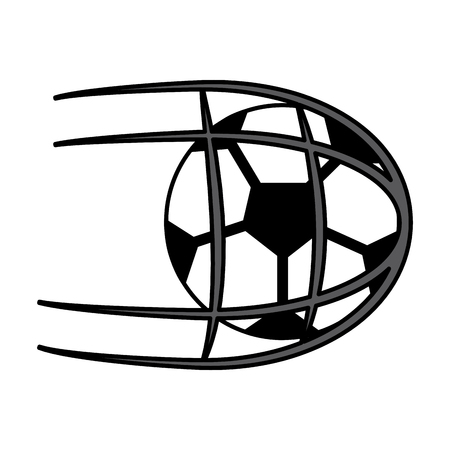 ball shooting into net football soccer icon image vector illustration design