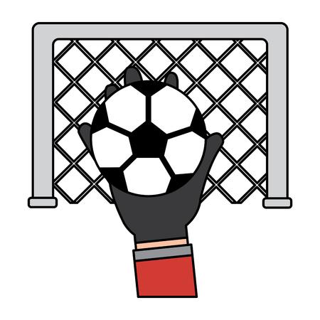 hand holding soccer ball goal vector illustration