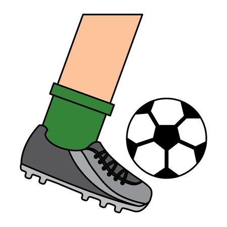 サッカーボールベクトルイラストを蹴る脚
