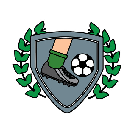 leg foot kicking soccer ball inside shield emblem vector illustration