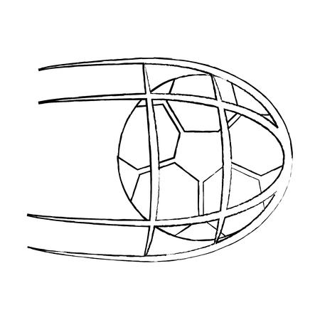 Voetbal in netto. geïsoleerd op witte achtergrond, vectorillustratie vectorillustratie Stock Illustratie