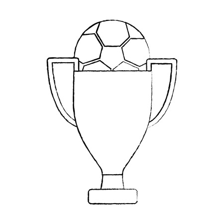 trophy soccer ball winner sport vector illustration Çizim