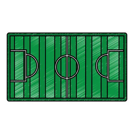 サッカーフィールドゴールスポーツトップビューベクトルイラスト。