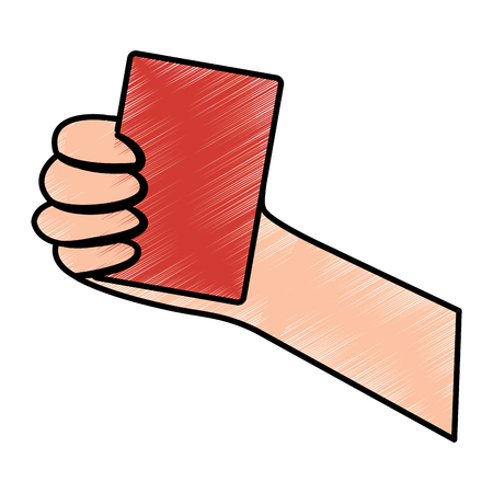 hand holding card sport icon vector illustration