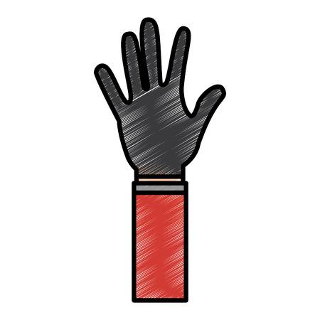 open hand showing five fingers vector illustration