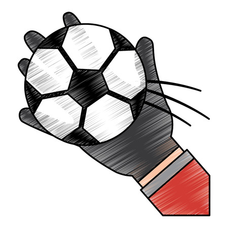 hand holding football ball sport vector illustration Illustration