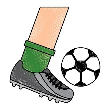 leg kicking a soccer ball vector illustration Illustration