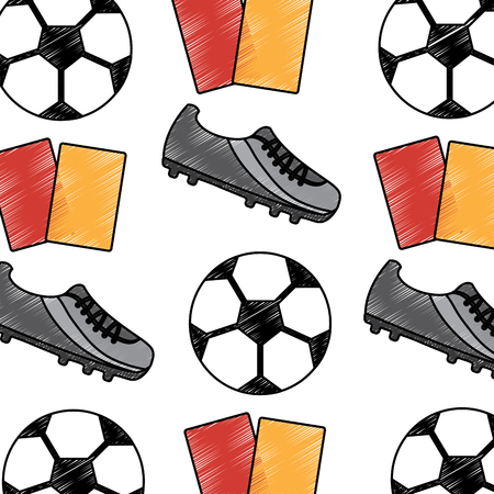 サッカーシューズボールカードシームレスパターンベクトルイラスト  イラスト・ベクター素材