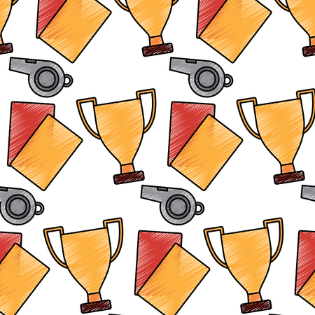 whistle trophy and cards soccer sport pattern vector illustration 向量圖像
