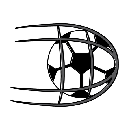 soccer ball in net shoot sport vector illustration