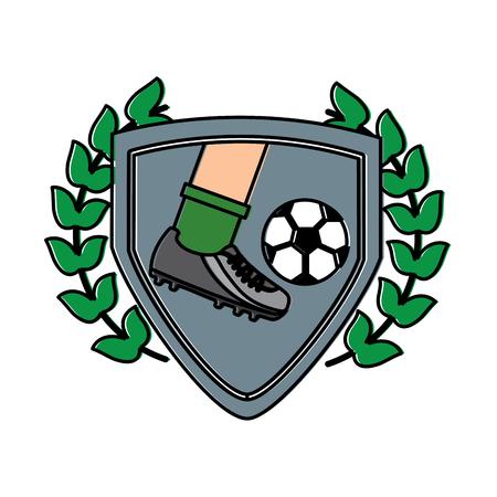 leg foot kicking soccer ball inside shield emblem vector illustration