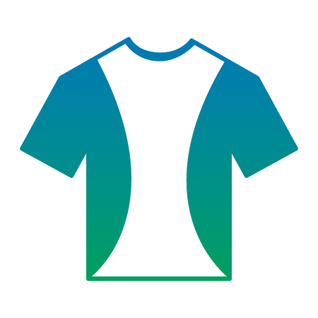 t shirt crew neck icon image vector illustration design  blue to green ombre
