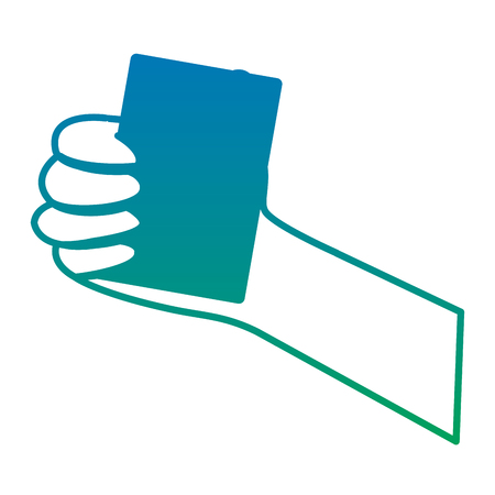 card hand hold icon image vector illustration design  blue to green ombre