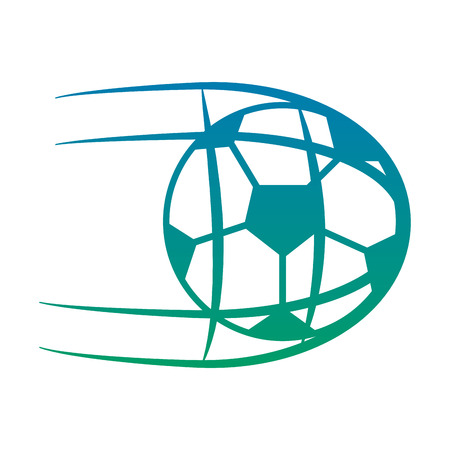 ball shooting into net football soccer icon image vector illustration design  blue to green ombre 向量圖像