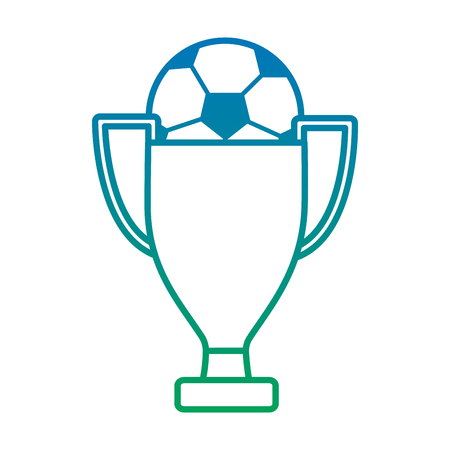 ball and trophy football soccer icon image vector illustration design  blue to green ombre