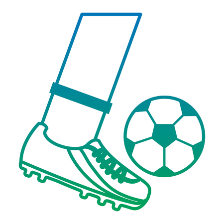 foot kicking ball football soccer icon image vector illustration design  blue to green ombre 向量圖像
