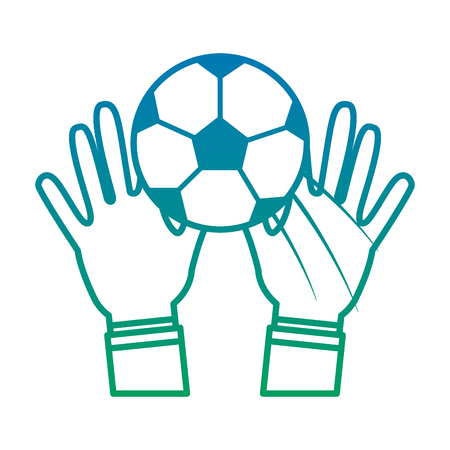 hands with ball football soccer icon image vector illustration design  blue to green ombre
