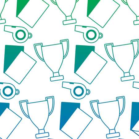 Trophy cards whistle football soccer icon image vector illustration design blue to green ombre 向量圖像