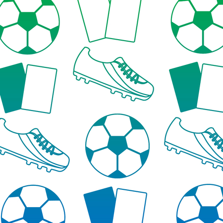 Ball cleat cards football soccer pattern image vector illustration design blue to green ombre