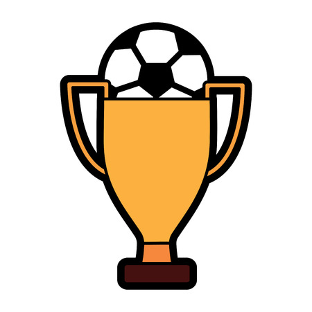 ball and trophy football soccer icon image vector illustration design