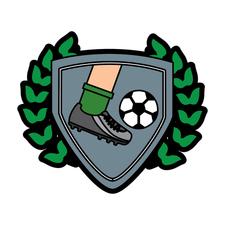 foot kicking ball football soccer emblem image vector illustration design