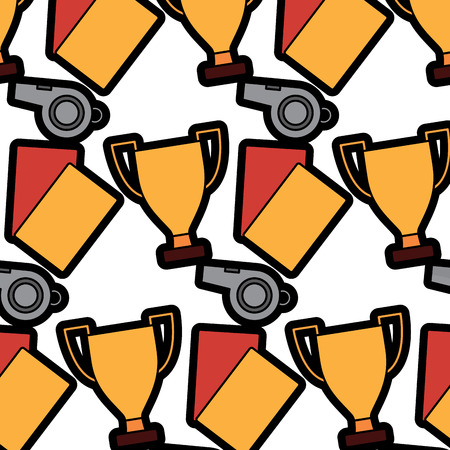 trophy cards whistle football soccer icon image vector illustration design