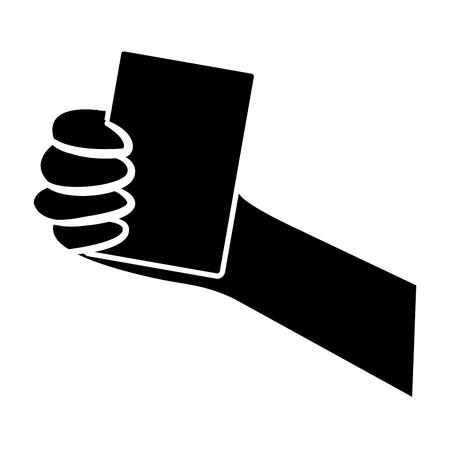 card hand hold icon image vector illustration design  black and white Illustration