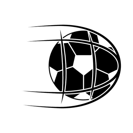 ball shooting into net football soccer icon image vector illustration design  black and white 向量圖像