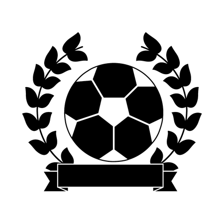 ball football soccer emblem image vector illustration design  black and white