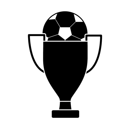 ball and trophy football soccer icon image vector illustration design  black and white Ilustração