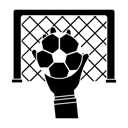 hands with ball with goal in the background football soccer icon image vector illustration design  black and white