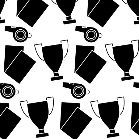 trophy cards whistle football soccer icon image vector illustration design  black and white