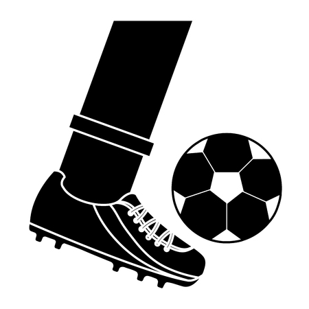foot kicking ball football soccer icon image vector illustration design  black and white