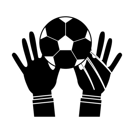 hands with ball football soccer icon image vector illustration design  black and white 向量圖像