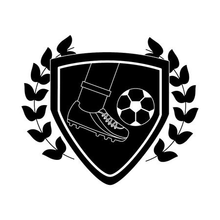 foot kicking ball football soccer emblem image vector illustration design  black and white Ilustrace