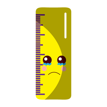 ruler sad school supplies kawaii icon image vector illustration design  向量圖像