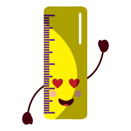 ruler  heart eyes school supplies kawaii icon image vector illustration design  Illustration