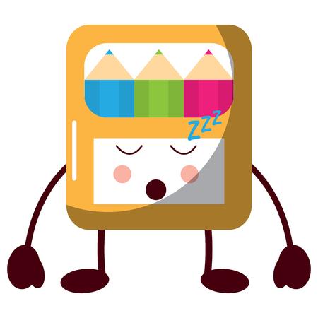 Pencils in box kawaii character