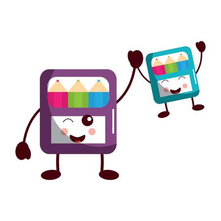 funny cartoon school colors in box kawaii vector illustration