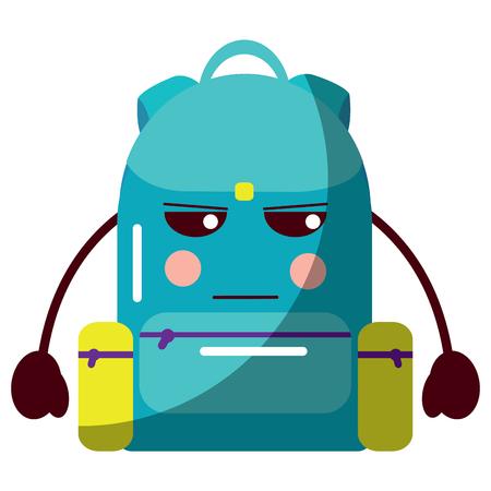 school backpack cartoon character vector illustration
