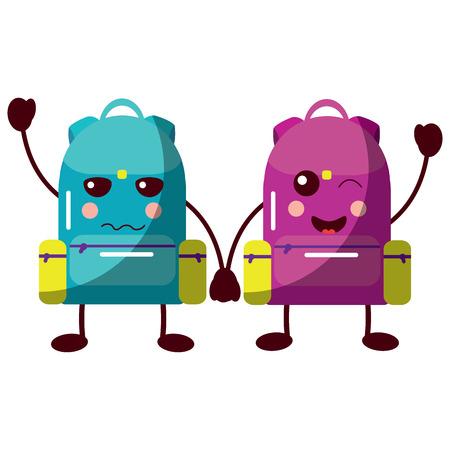 cartoon pair school backpack kawaii character vector illustration Illustration