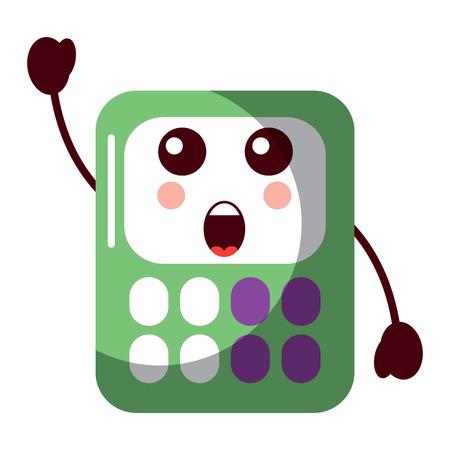 calculator math character cartoon vector illustration Illusztráció