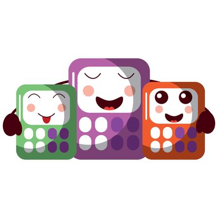 cartoon calculators kawaii school character vector illustration Illustration