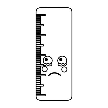 school ruler comic character kawaii vector illustration