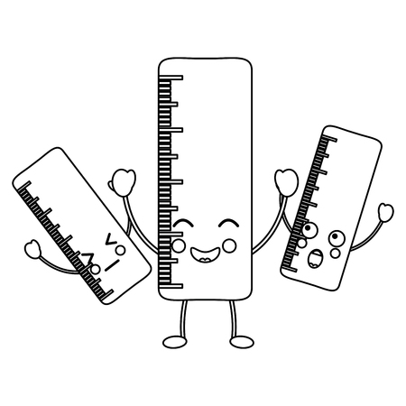 rulers school supplies  es kawaii icon image vector illustration design  black line