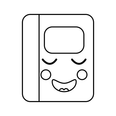 notebook happy   school supplies  es kawaii icon image vector illustration design  black line  Ilustração