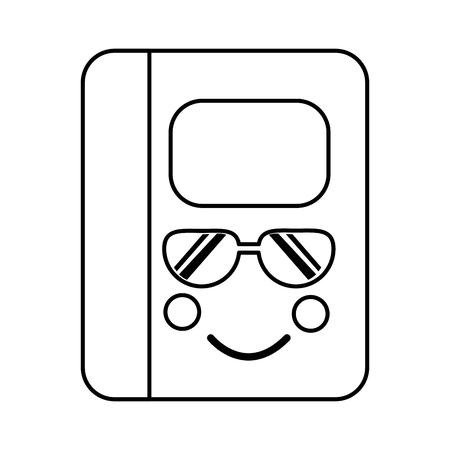 notebook with sunglasses school supplies  es kawaii icon image vector illustration design  black line
