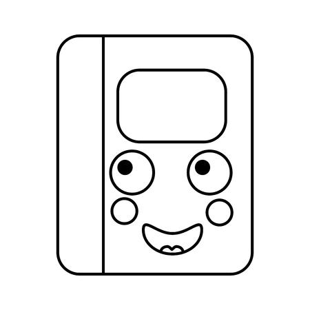 notebook gelukkig school levert es kawaii pictogram afbeelding vector illustratie ontwerp zwarte lijn