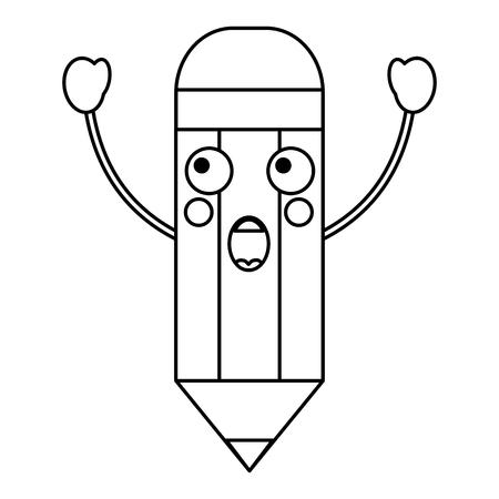 pencil surprised school supplies  es kawaii icon image vector illustration design  black line  Ilustração
