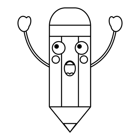 potlood verrast school levert es kawaii pictogram afbeelding vector illustratie ontwerp zwarte lijn Stock Illustratie